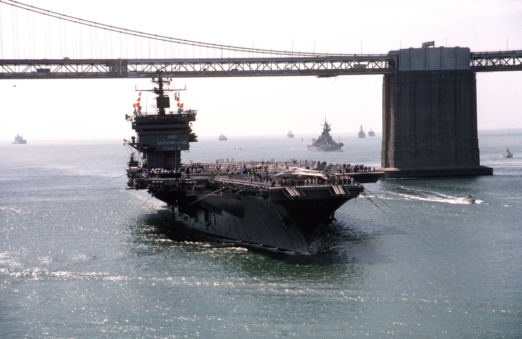 uss enterprise under bridge